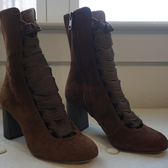 5a8c5e6c Chloe Brown Suede Harper Lace-Up Boots Size 6.5 NWT